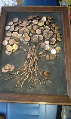"""Explore our internet site for additional relevant information on """"metal tree art diy"""". It is actually an outstanding location to get more information. Metal Tree Wall Art, Metal Art, Art Altéré, Coin Crafts, Glue Art, Coin Art, Art Diy, Money Trees, Ouvrages D'art"""
