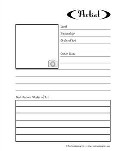 Free Artist Notebooking Pages (for children to learn about famous artists and their work)