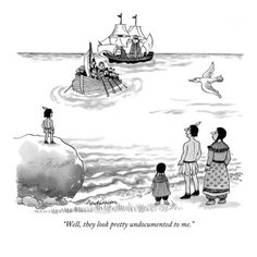 """""""Well, they look pretty undocumented to me."""" - New Yorker Cartoon Poster Print  by J.B. Handelsman at the Condé Nast Collection"""