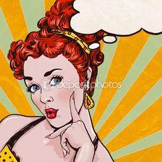 Pop Art illustration de femme avec la bulle de dialogue. Fille de Pop Art. Invitation fête. Carte de voeux d'anniversaire