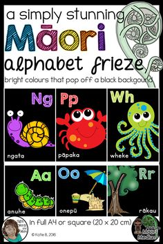 A beautiful collection of M?ori language alphabet posters perfect for kiwi classrooms (M?ori and English medium classrooms alike). This resource has bright pictures and text that pop off the black backgrounds. Heavy on the ink, but beautiful on the eyes (if you?d like to check out the white background M?ori alphabet posters click here). Both full size A4 posters are included as well as 20 X 20 cm posters for the square alphabet frieze look.