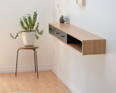 nice floating entry table modern for your spaces / Tyler McKenzie Floating console table white oak shelf by tealandgold on Etsy. Oak Shelves, Drawer Shelves, Wall Mounted Shelves, Mounted Tv, Floating Shelf With Drawer, Floating Shelves, Floating Wall, Floating Media Console, Hallway Shelf