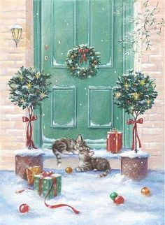 toprak ve ahsap dekupaj resimleri sarah summers – – Winterbilder Vintage Christmas Images, Christmas Scenes, Christmas Animals, Christmas Past, Retro Christmas, Vintage Holiday, Christmas Pictures, Christmas Greetings, Winter Christmas