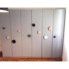 """Ikea wardrobe hacked with Muuto dots and gray paint #Ikea #ikeahack #muuto #mommodesign"" Photo taken by @mommodesign on Instagram, pinned via the InstaPin iOS App! http://www.instapinapp.com (09/26/2015)"