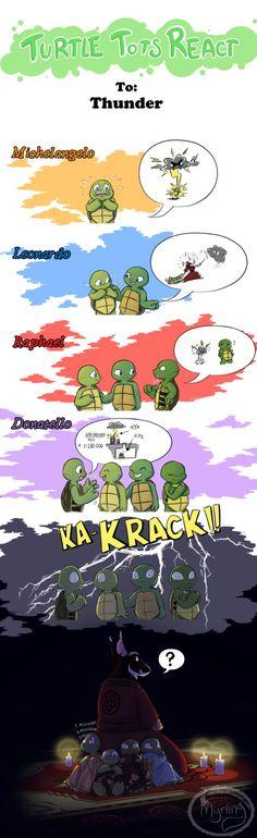 Turtle Tots React - Thunder by Myrling on DeviantArt Tmnt 2012, Ninja Turtles Art, Teenage Mutant Ninja Turtles, Turtle Tots, Tmnt Comics, Nickelodeon, Pixar, Nerdy, Childhood