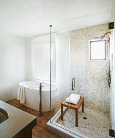 White pebble tile! I love the light white river rock for the shower walls and floor - contemporary - Bathroom - https://www.pebbletileshop.com/products/White-Pebble-Tile.html#.VYw4KflViko