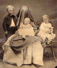 During a search for Victorian examples of post-mortem photography, I came across these mysterious and extremely odd vintage portraits of families in which the mother is disguised as a chair. In some cases there seems to be a real attempt to make the figure of the mother appear like an actual chair; in other cases,like this one it looks like they simply want to conceal the mother's identity. Maybe it's to keep a live child still enough to take a clear photo or to keep a deceased one in positi...