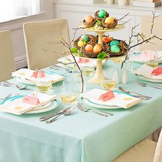 Keep the look sweet but chic by mixing playful touches like dyed eggs and (yes!) rabbit ears with your most elegant dishes.