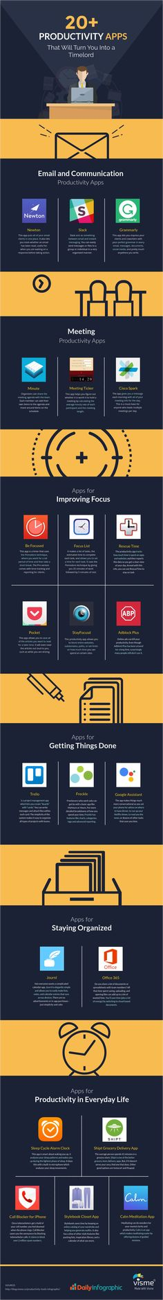 Life Hacks: The 20 Best Productivity Apps To Help You Do More In Less Time - #infographic