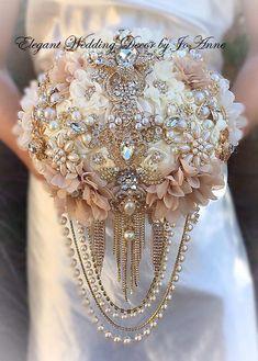 Custom Gold Bridal Brooch Bouquet Elegant Brooch Bouquet