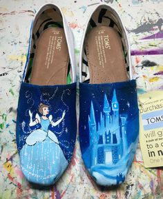 Cinderella inspired custom painted shoes. by LaceysCraftyLetters