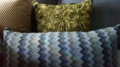 30x60cm Faux suede cushion cover in Chevron design - blue grey;charcoal;black & coffee. Made by Trific Interiors   www.trificinteriors.com.au