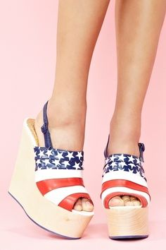 5. American Accessories and Shoes: Stars and Stripes Platform Wedges