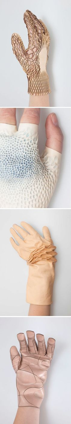 Conceptual Textiles Design - textured gloves translating human skin into material using innovative surface techniques // Renee Verhoeven:
