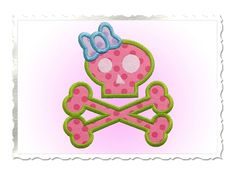 $2.95Skull & Crossbones with Bow Applique Machine Embroidery Design