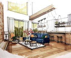 Interior design is the best thing you can do for your home Interior Architecture Drawing, Interior Design Renderings, Interior Rendering, Interior Sketch, Interior Design Tips, Architecture Design, Drawing Interior, Classical Architecture, Interior Ideas
