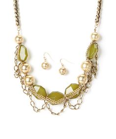 Look what I found on #zulily! Gold & Olive Bead Chain Bib Necklace & Earrings by Ethel & Myrtle #zulilyfinds