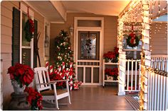 Front Porch Decorating @ http://thepenningtonpoint.com/2011/12/holiday-home-tour/