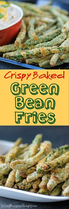 Crispy Baked Green Bean Fries | DizzyBusyandHungry.com - Crunchy, addictive, AND healthy? It's true - you need to try these!