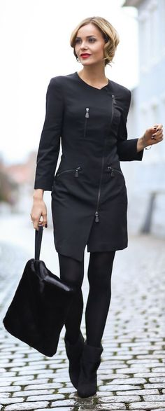 Alexander McQueen + Black Fitted Zip Detail Mini Dress V