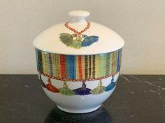 GIEN France Taffetas  Multicolor Tassels Design Sugar Bowl #Gien Sugar Bowl, Tassels, Pottery, Jar, France, Design, Home Decor, Ceramica, Decoration Home