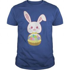 Personalized Name Easter Rabbit Cute Bunny Basket Full of Colorful Eggs TShirt  Mug