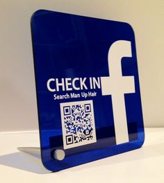 Facebook Check In Sign with Personalized QR Code move that on a T-Shirt and make a Personal Fan Chekin for Clubs or your Privat  Party Event