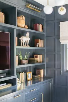 Benjamin Moore Van Deusen Blue very close color - Jasmine LeBlanc Blue Bookshelves, Built In Bookcase, Living Room Cabinets, Living Room Grey, Kitchen Living, Home Design, Home Office Design, Condo Design, Design Ideas
