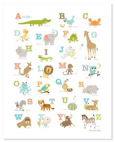 Our most popular baby shower gift, featuring a collage of animals from A-Z, makes a perfect addition to a nursery or playroom Offset printed on heavyweight semigloss paper. Poster size is which includes a border. This item ships rolled in a mailing tube. Abc Wall, Alphabet Wall Art, Animal Alphabet, Abc Alphabet, Alphabet Posters, Nursery Prints, Nursery Art, Baby Prints, Alfabeto Animal