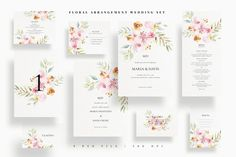 Floral Arrangement Wedding Set #wedding #invitation #invite #diy #bride #groom #floral #watercolor #leaf #blush Watercolor Wedding Invitations, Elegant Wedding Invitations, Wedding Templates, Wedding Invitation Templates, Wedding Sets, Diy Wedding, Floral Arrangements, Invite, Fonts