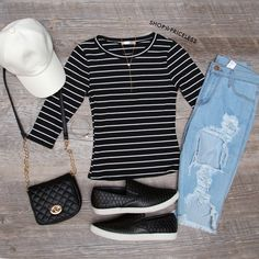 Lucky Stripe Top - Black
