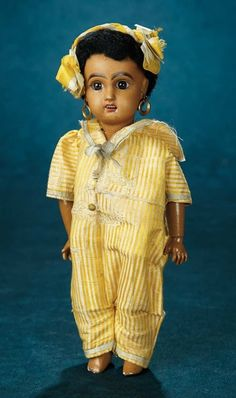 Forever Young - Marquis Antique Doll Auction: 97 Petite French Bisque Bebe Jumeau, Mulatto Complexion, Original Costume, Original Box