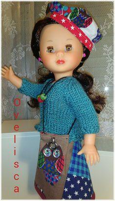 """OVELISCA -  Conjunto búhos tipo """"Desigual""""  para muñeca Nancy"""
