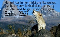 Ezekiel Her officials within her are like wolves tearing their prey, shedding blood, and destroying lives for dishonest gain. Jesus Quotes, Bible Quotes, Ephesians 5 11, Raven And Wolf, Scripture Of The Day, Modern Church, Old Testament, Jesus Christ, Christianity