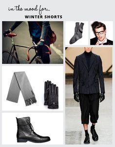 Neste Inverno ao guarda-roupa masculino tem de se acrescentar uma peça tipicamente de Verão, os calções!  Combine com umas botas de cano mais alto ou com meias subidas.  Pura tendência nesta estação!