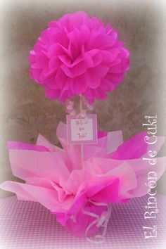 más y más manualidades: Opciones llamativas para decorar una fiesta con pompon. Shower Party, Baby Shower Parties, Bridal Shower, Baby Showers, Girl Birthday, Birthday Parties, Fiesta Baby Shower, Tissue Paper Flowers, Papel Tissue