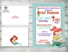 "Ariel Invitation The Little Mermaid Birthday Baby Shower Disney Digital Copy or Prints with Envelopes. For a detailed description visit us at etsy.com and search""BonVillage Designs"" or click on the following link. https://www.etsy.com/listing/255905506/disney-princess-baby-shower-invitations?ref=shop_home_active_6"
