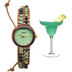 These beautiful timepieces are a great expression of elegance and style. It features precious stones weaved through genuine leather bracelets, and each watch is themed to one our favorite cocktail drinks! Every hour is happy hour when you've got one of these on your wrist.    Stone: African Turqu...
