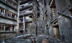 """The """"Stairway to Hell"""", inside of Hashima Island, Japan."""