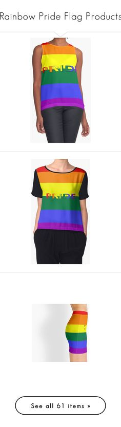 """Rainbow Pride Flag Products"" by sandyspider ❤ liked on Polyvore featuring tops, graphic tops, fitted tops, relaxed fit tops, v-neck top, chiffon tops, v neck tops, white top, white fitted top and t-shirts"