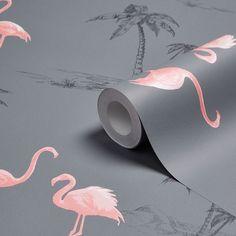 Colours Charcoal & Pink Flamingo Mica Wallpaper | Departments | DIY at B&Q