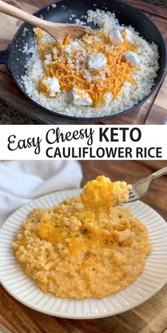 A quick and easy keto & low carb side dish recipe! This simple cheesy cauliflower rice is THE BEST! It's basically a healthy comfort food, plus it's low carb, keto friendly and awesome. The entire family will love it. Even the kids! Serve it with chicken, Healthy Dinner Recipes For Weight Loss, Healthy Comfort Food, Low Carb Dinner Recipes, Low Carb Chicken Recipes, Keto Chicken, Low Carb Desserts, Vegetarian Recipes For Kids, Simple Healthy Recipes, Diabetic Lunch Ideas