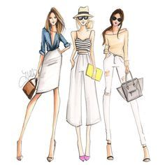 """Fashion Drawing """"It's not a party without your friends! Now selling prints with """"girl gangs""""! Check 'em out (link in bio)! Illustration Mode, Fashion Illustration Sketches, Fashion Sketchbook, Fashion Sketches, Sketchbook Ideas, Moda Fashion, Fashion Art, Girl Fashion, Fashion Dresses"""