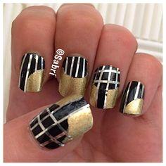 #manicure: #blacknails with #gold #halfmoon and #silverlines! #urbanglam! #nailart. #Nails #Uñas #Unghie #Ongles #Unhas #Nailpolish #Esmalte #Smalto #Émail. #Beauty #Belleza #Bellezza #Beauté #Beleza #Cosmetics #Cosméticos #Cosmetici #produitsdebeaute #fabat40.