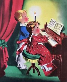 About 4 x 5 inches. Used condition, as seen in photos. Vintage Greeting Cards, Vintage Christmas Cards, Retro Christmas, Christmas Carol, Xmas Cards, Christmas Ornaments, Playing Piano, Kids Playing, Christmas Tunes