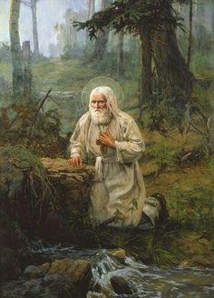 Saint Serafim of Sarov: Forgiveness of Offences Famous Saints, Saint Esprit, Russian Orthodox, Catholic Saints, Orthodox Icons, Russian Art, Sacred Art, Kirchen, Christian Art