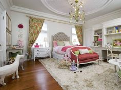 DREAM room for a little girl designed by Candice Olson. Alice in Wonderland themed with a passage from the book on the ceiling! Gorgeous!!