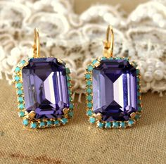 Crystal purple turquoise big earring - 14k plated gold hook earrings real swarovski rhinestones .