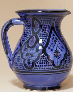 Moroccan Safi Design Water Jug in Blue Moroccan Room, Moroccan Furniture, Vases, Dish, Ceramics, Mugs, Antiques, Tableware, Blue