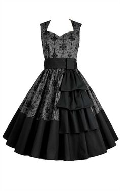 This lovely grey dress is covered in a beautiful black floral print, and features a matching detachable black sash. An instant classic, this vintage inspired 50's style dress has a flattering sweetheart neckline.